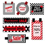 Set of labels with black and white background and red elements.Bright design for discount posters, flyers, cards, banner stock illustration