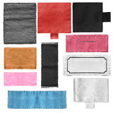 Set of labels. Set of blank textile colorful clothes labels isolated over white Royalty Free Stock Image