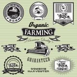 Set of labels on bread and harvester. Set of labels on bread and combine harvester Royalty Free Stock Photo
