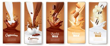 Set of labels with cappuccino, coffee,  milk with honey, chocolate and vanilla. Splashes. Vector vector illustration