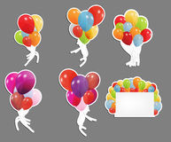 Set of labels with colored ballons Stock Image