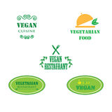 Set of labels company vegan vegetarian healthy food. Stock Photos