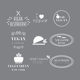 Set of labels company vegan vegetarian healthy food. Stock Images