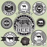 Set of labels with cow and beef Stock Photos