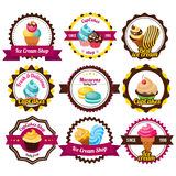 Set Labels Cupcakes Royalty Free Stock Photo