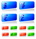 Set of labels with currency symbols Royalty Free Stock Image