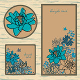 Set of labels and cutaway with flowers. Vector set: labels and cutaway with blue flowers and hummingbird Stock Image