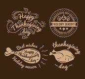 Set of labels design template to Thanksgiving Day. Black icons with turkey for banner and invitation. Vector tags Stock Photos