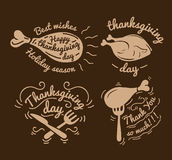 Set of labels design template to Thanksgiving Day. Black icons with turkey for banner and invitation. Vector tags Royalty Free Stock Photos