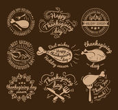 Set of labels design template to Thanksgiving Day. Black icons with turkey for banner and invitation. Vector tags. Stickers and badges with symbols for fall Stock Image