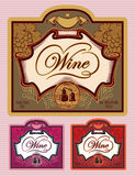 Set of labels for different kinds of wine Royalty Free Stock Photo