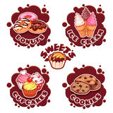 A set of labels for different sweets in the form of chocolate sp Royalty Free Stock Image