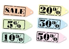 Set of labels for discount. Stock Photography