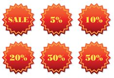 Set of labels for discount. Set of labels for the discount. Vector illustration. Isolated on white background Royalty Free Stock Image