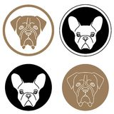 Set of labels with dog heads Stock Photography