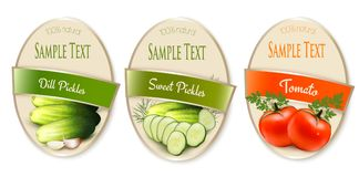 Set of labels with ecological tomato and pickles. Isolated. Vector illustration vector illustration