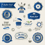 Set of labels and elements for kosher food Royalty Free Stock Image