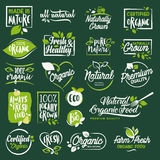 Set of labels and elements for organic food and drink, restaurant, food store, natural products, farm fresh food,  e-commerce Royalty Free Stock Image