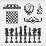 Set of labels, emblems, icons and signs for chess tournament. Vector illustration. stock illustration