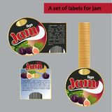 A set of labels for figs jam. Isolated image. stock illustration