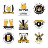 Set of labels filled with beer mugs, bottles of craft beer, beer barrels and the ingredient malt royalty free illustration