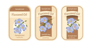 Set of labels for flaxseed oil Stock Image