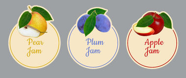 Set of labels for fruit jam. Stock Photo