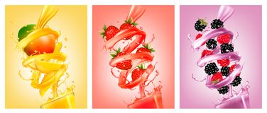 Set of labels of of fruit in juice splashes. Stock Image