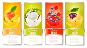 Set of labels of of fruit in juice splashes. Stock Photo