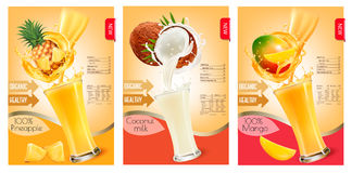 Set of labels of of fruit in juice splashes. Royalty Free Stock Photography