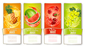 Set of labels of of fruit in juice splashes. Stock Photos