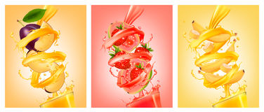 Set of labels of of fruit in juice splashes. stock illustration