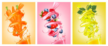 Set of labels of of fruit in juice splashes. Strawberry, blueberry, raspberry, carrot, grapes. Vector Stock Image