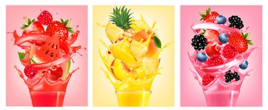 Set of labels with fruit in juice splashes. Stock Photo