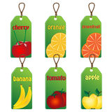 Set of labels with fruits and vegetables Royalty Free Stock Images