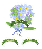 Set labels with hand-drawn lettering, months names of season year, Beautiful bouquet of forget-me-not flowers Stock Images