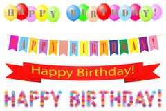 Set of labels Happy Birthday. Royalty Free Stock Image
