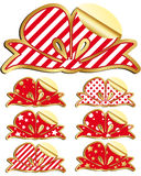 Set of labels Holiday bow Stock Photo