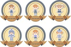 Set of labels on jeans background Royalty Free Stock Image