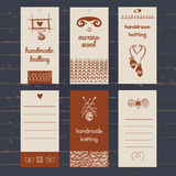 Set of labels for knitwear and wool Stock Photos