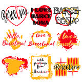 Set of labels with lettering about Barcelona Stock Photography
