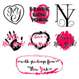 Set of labels with lettering about New York Royalty Free Stock Photo
