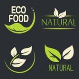 Set of labels, logos with text. Natural, eco food. Organic food Stock Photos