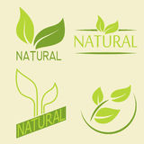 Set of labels, logos with text. Natural, eco food. Organic food. Badges in vector cosmetic, food. Vector logos. Natural logos with leaves Royalty Free Stock Photo
