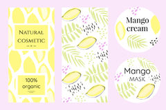 A set of labels for mango cosmetics. Creative brochure in abstract style. Packing template for exotic cosmetics Royalty Free Stock Image
