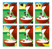 Set of labels for milk or yogurt. Strawberry, cherry, vanilla, b Royalty Free Stock Image
