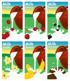 Set of labels for milk or yogurt.  Stock Photos