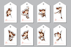 A set  labels with monkeys Stock Photo