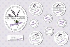 Set of labels for natural bath body products with Royalty Free Stock Images