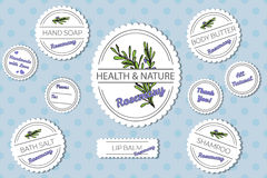 Set of labels for natural bath body products with Stock Photo